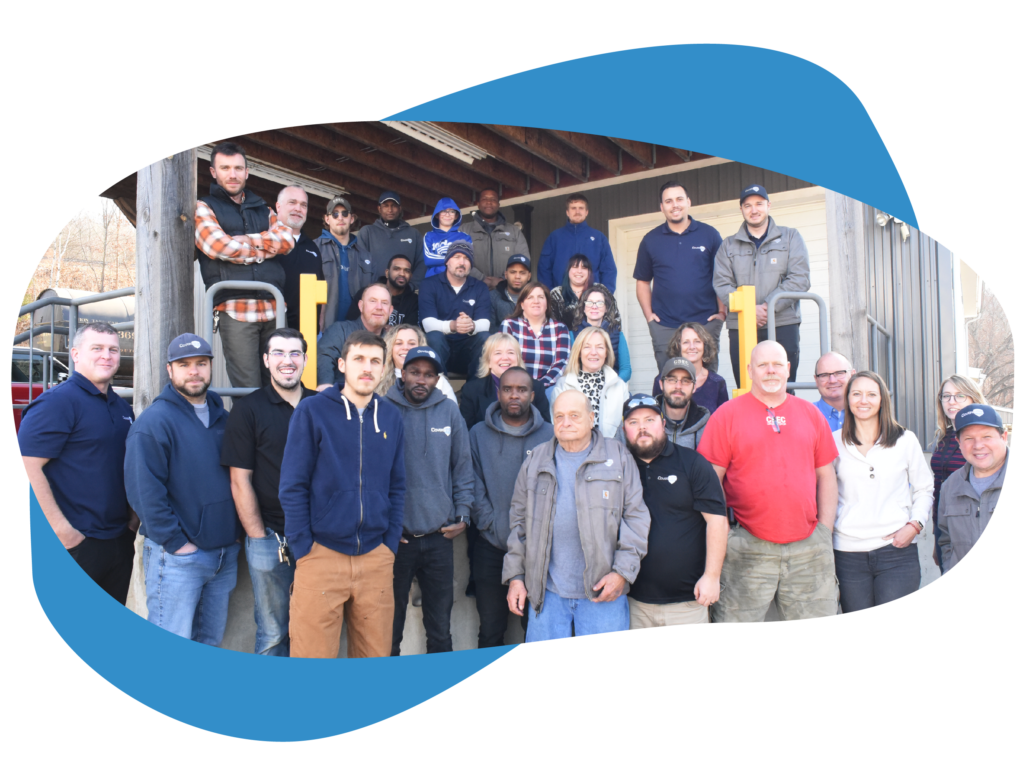 CoverSafe Automatic Pool Covers - A group photo of about 30 people, the Coversafe team standing outside of the Thomaston, CT location.