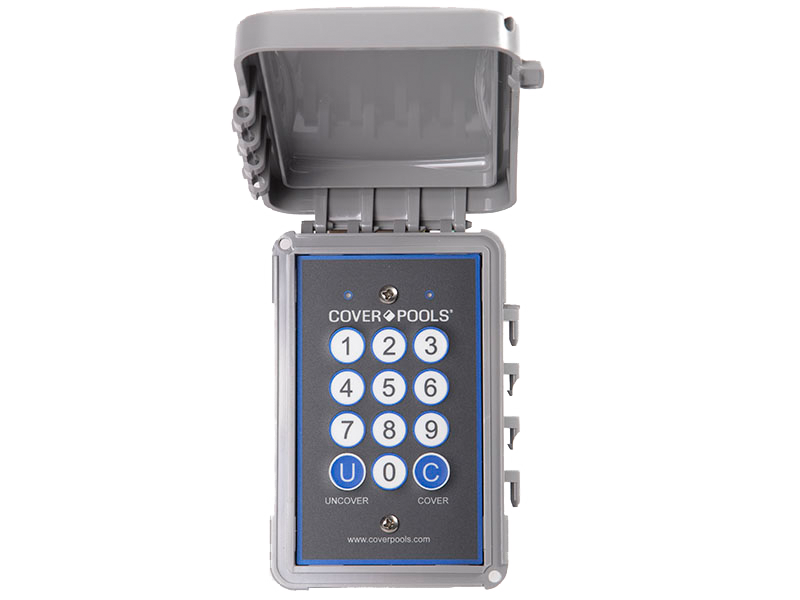 Cover-Pools secure keypad control panel to open and close your automatic pool cover system.